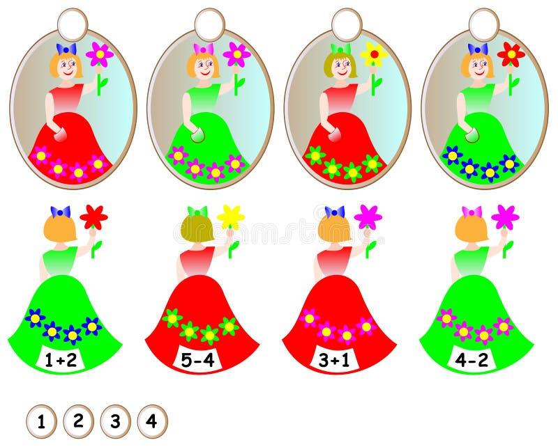 Exercício da lógica para crianças - precise de encontrar o espelho com reflexão para cada menina e de escrever o número relevante ilustração stock