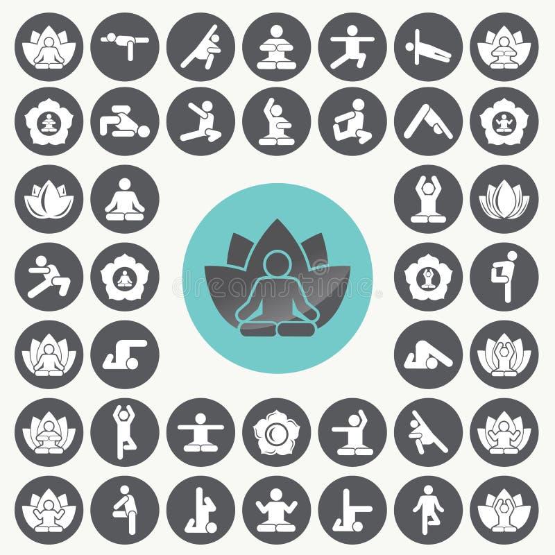 Exercício da meditação da ioga que estica os ícones dos povos ajustados ilustração stock