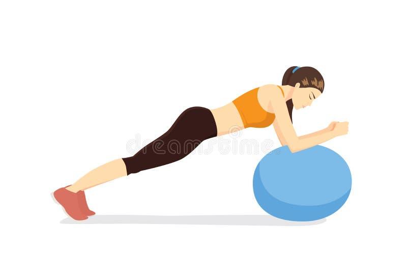 Exercício da mulher com a bola da aptidão na postura do tampo da mesa da bola ilustração stock