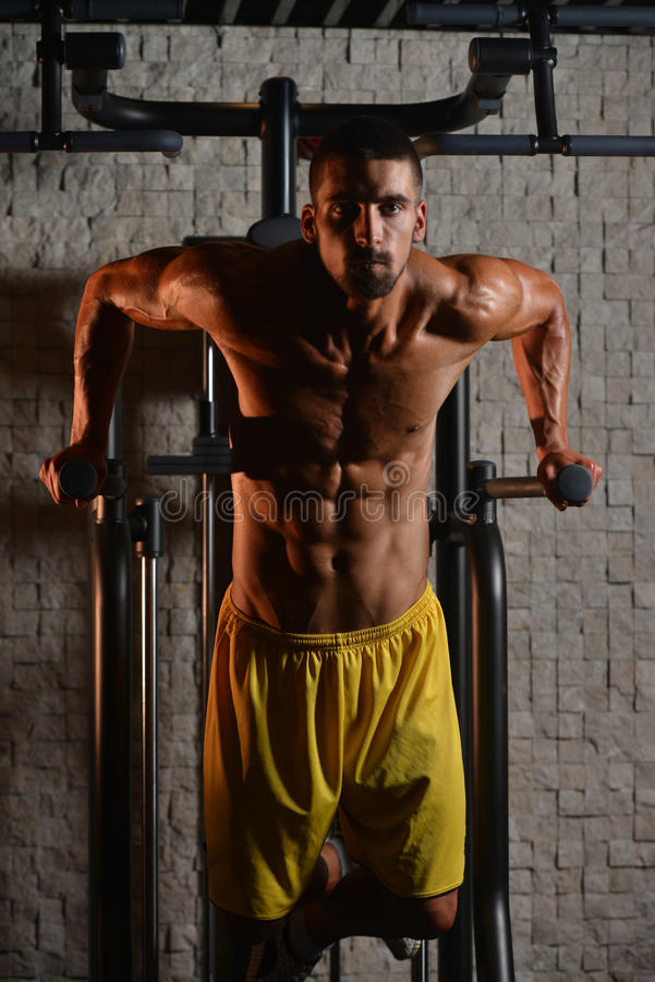 Exercício das barras paralelas para o tríceps e a caixa fotos de stock