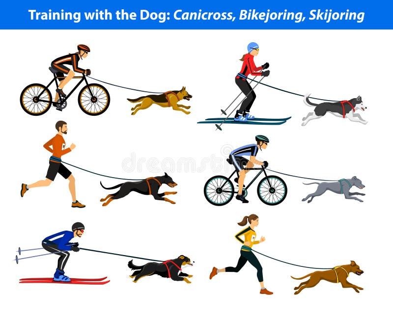 Exercício de formação com cão: canicross, bikejoring, skijoring ilustração royalty free