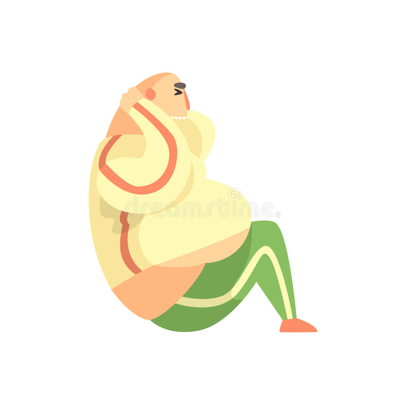 Exercício de formação engraçado de Chubby Man Character Doing Abs na ilustração do exercício do Gym ilustração royalty free