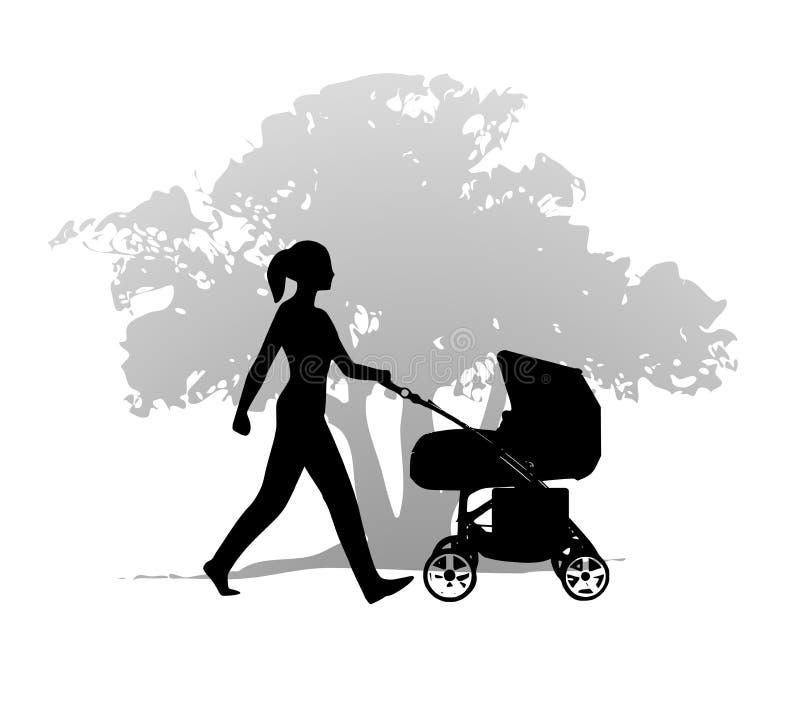 Exercício de passeio do carrinho de criança da mulher ilustração do vetor