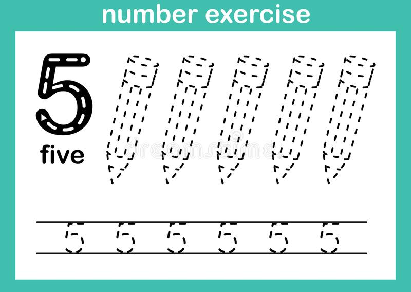 Exercício do número cinco ilustração stock