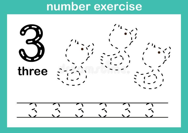 Exercício do número três ilustração stock