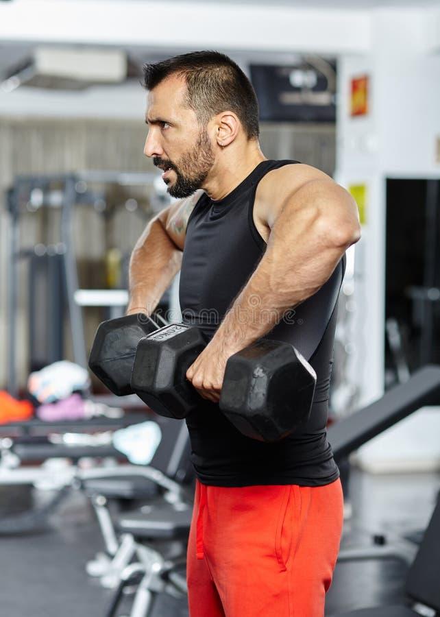 Exercício do ombro com pesos imagem de stock royalty free
