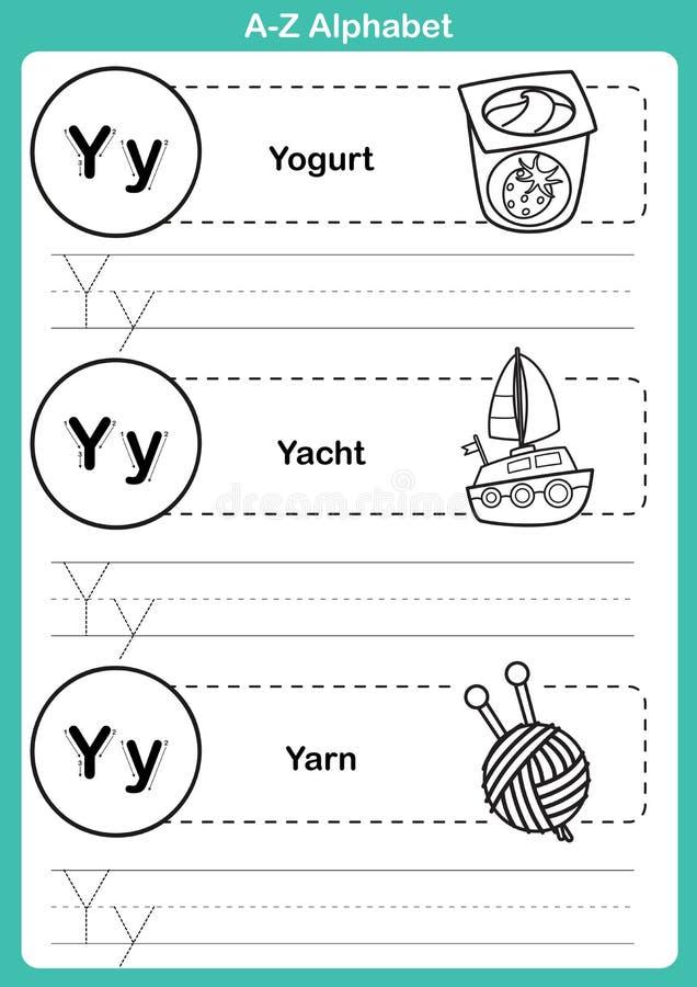 Exercício do a-z do alfabeto com vocabulário dos desenhos animados para o livro para colorir ilustração do vetor
