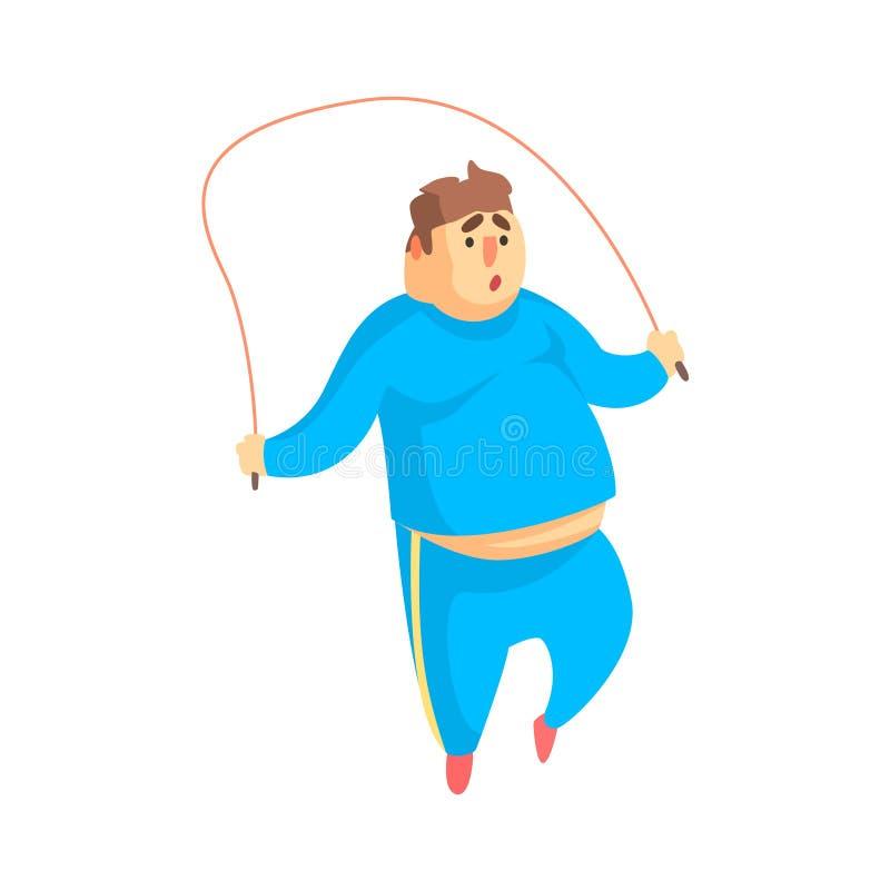 Exercício engraçado de Chubby Man Character Doing Gym que salta na ilustração da corda de salto ilustração do vetor