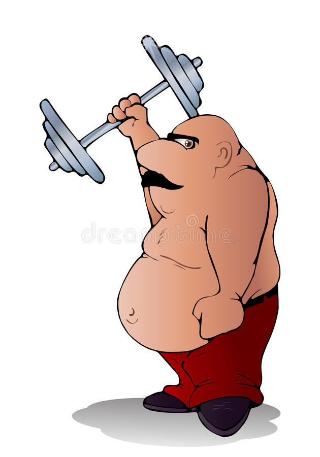 Exercício gordo do homem ilustração royalty free