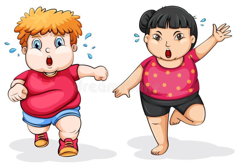 Exercício gordo do homem e da mulher ilustração royalty free