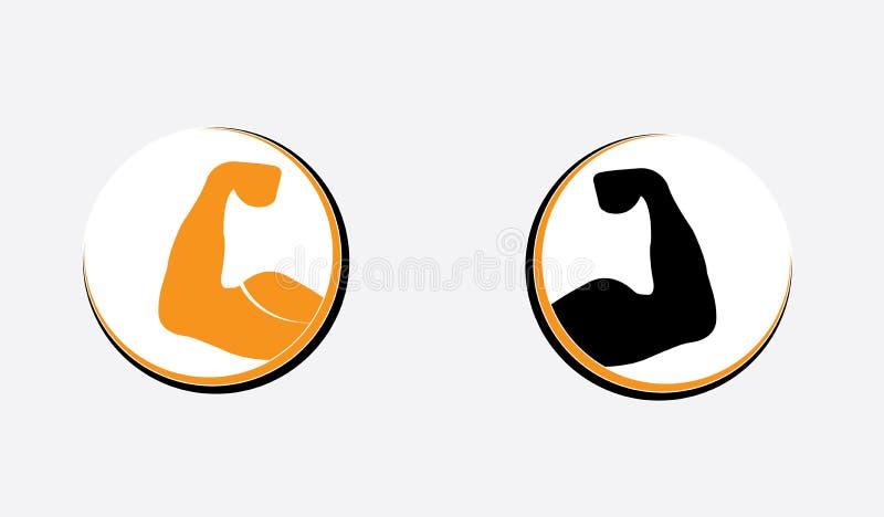 Exercício Logo Template do Gym do body building - braços poderosos da mão muscular ilustração do vetor