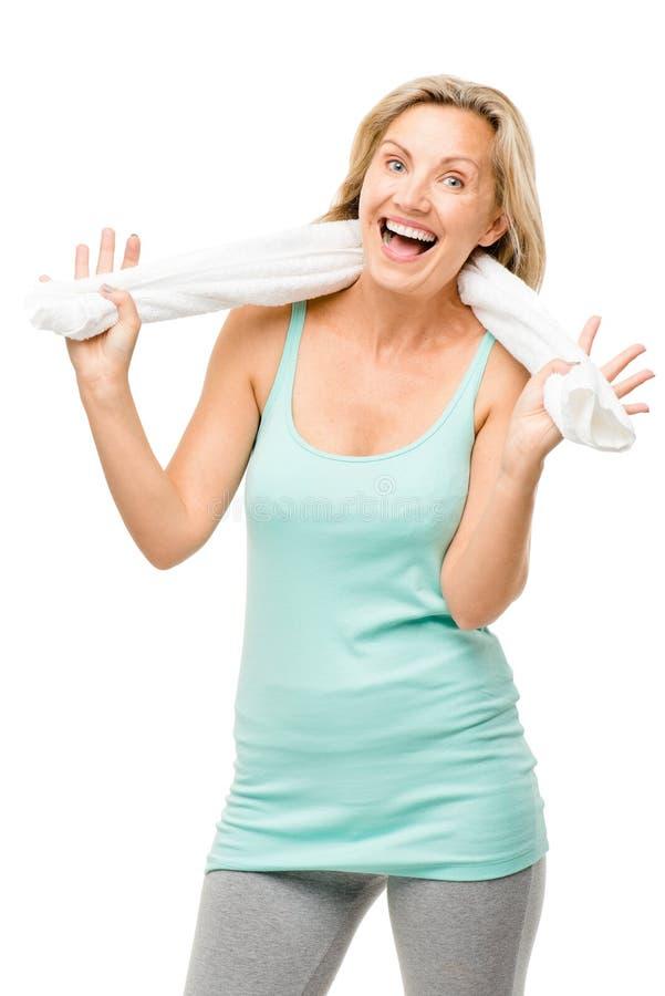 Exercício maduro saudável da mulher isolado no fundo branco imagens de stock