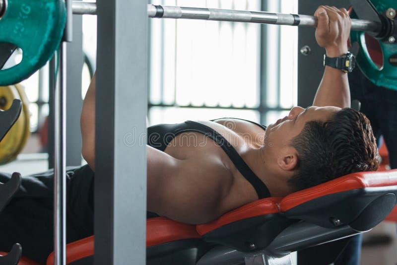Exercício muscular da imprensa de banco do halterofilista foto de stock