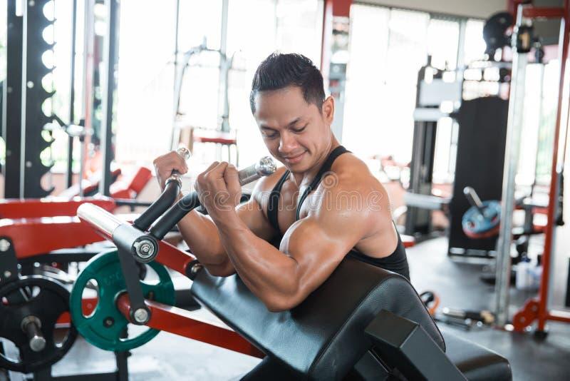 Exercício muscular do homem na máquina do exercício foto de stock