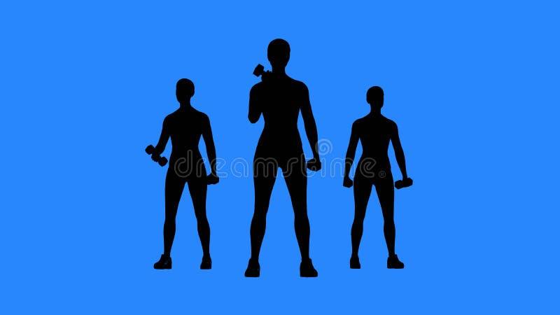 Exercício no Gym Treinamento do músculo com pesos fotografia de stock