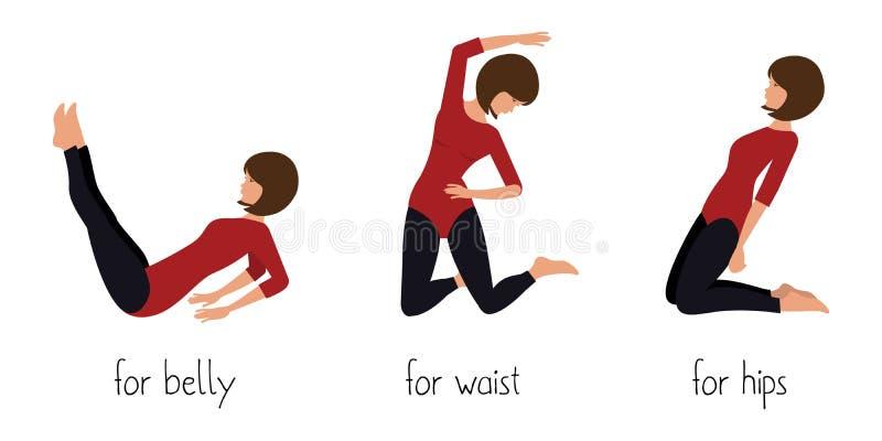 Exercício para a barriga, a cintura e os quadris ilustração stock
