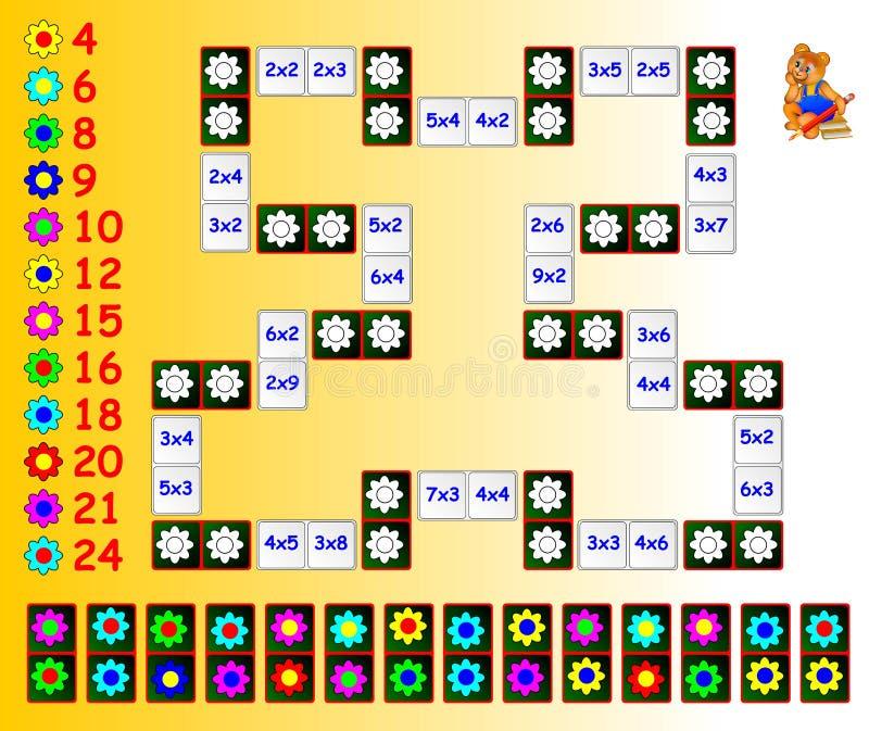 Exercício para crianças com multiplicação Pinte as flores em cores correspondentes usando os dominós restantes Necessidade de fec ilustração stock