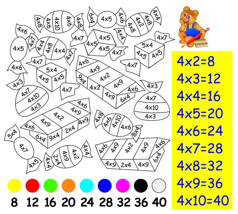 Exercício para crianças com multiplicação por quatro - precise de pintar a imagem na cor relevante ilustração royalty free