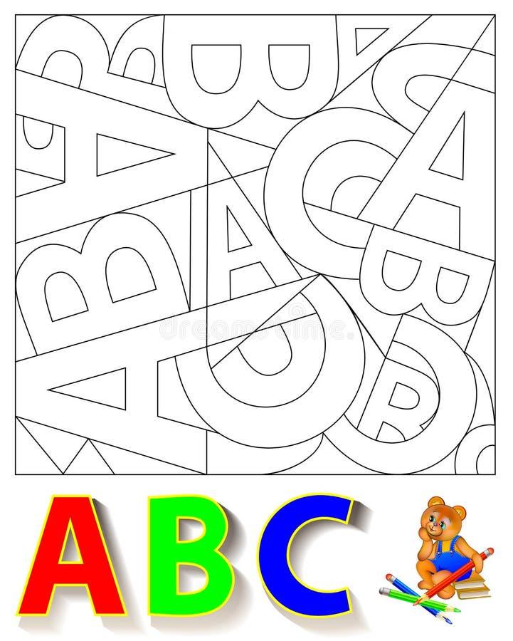 Exercício para crianças - precise de encontrar as letras escondidas e de pintá-las em cores relevantes ilustração do vetor