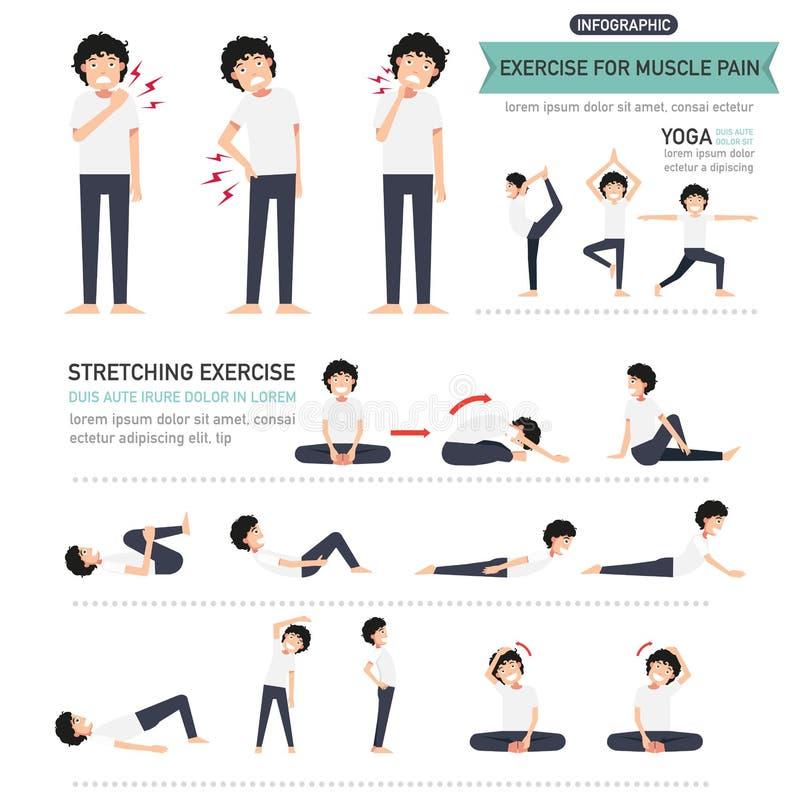 Exercício para a dor de músculo infographic ilustração stock