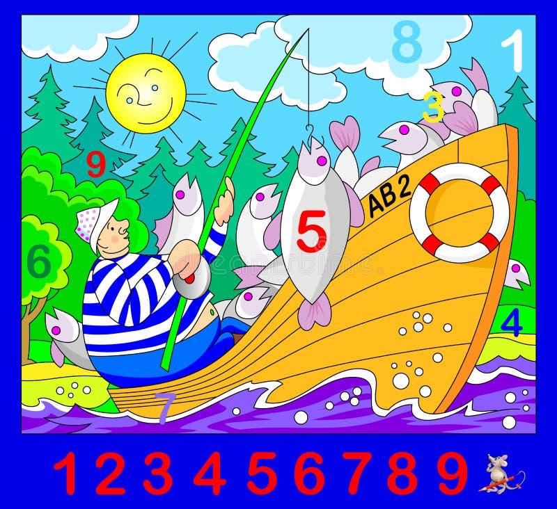Exercício para jovens crianças Precise de encontrar os números escondidos na imagem Jogo do enigma da lógica Habilidades tornando ilustração do vetor