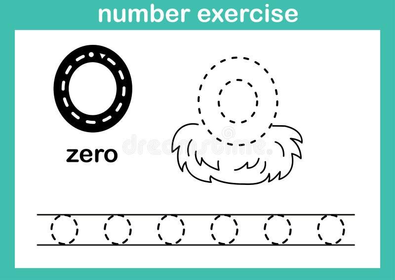 Exercício zero do número ilustração stock