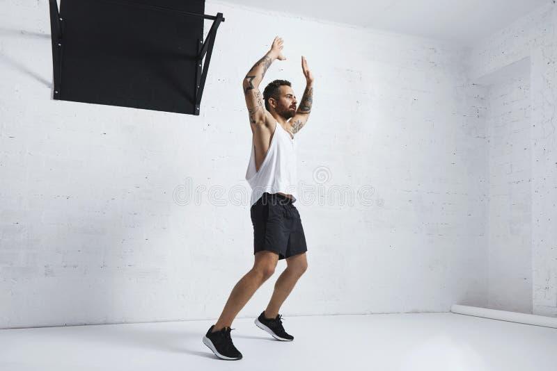 Exercícios calistênicos e do peso do corpo imagem de stock