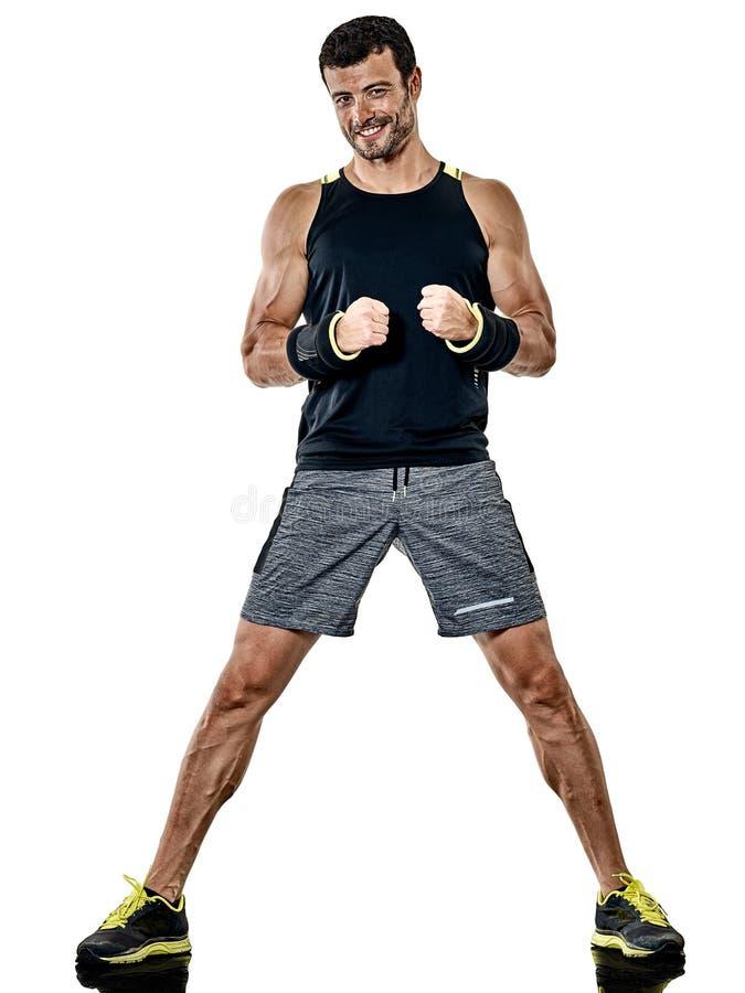 Exercícios do encaixotamento do homem da aptidão cardio- isolados fotografia de stock
