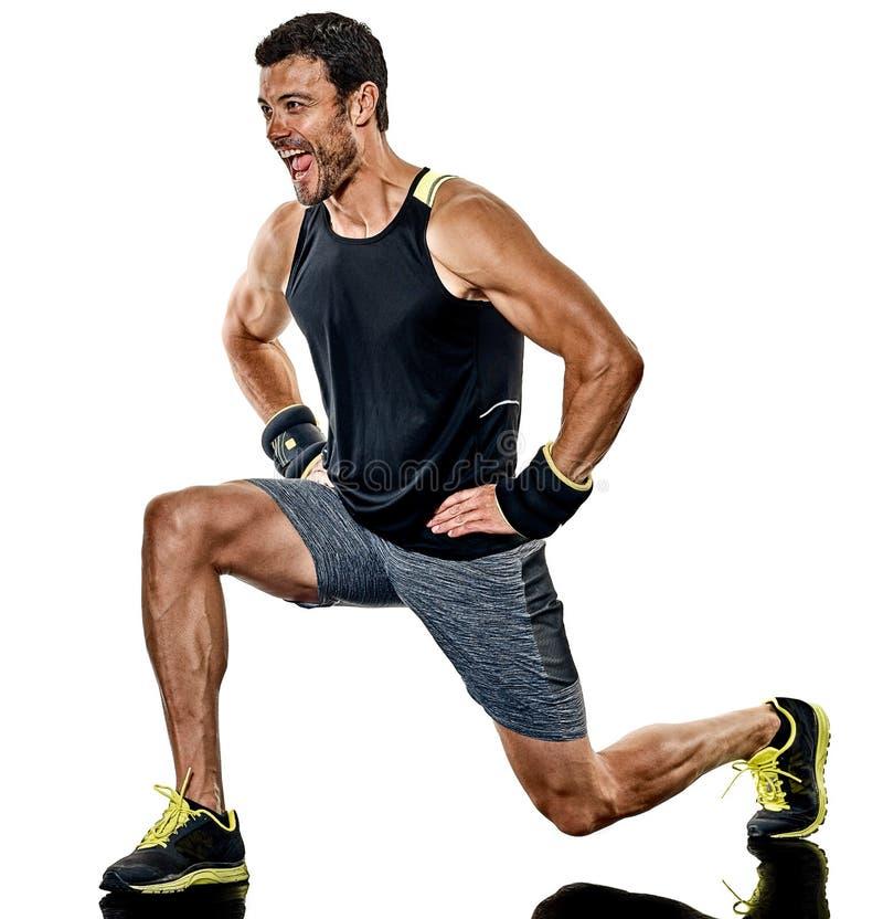 Exercícios do encaixotamento do homem da aptidão cardio- isolados fotos de stock