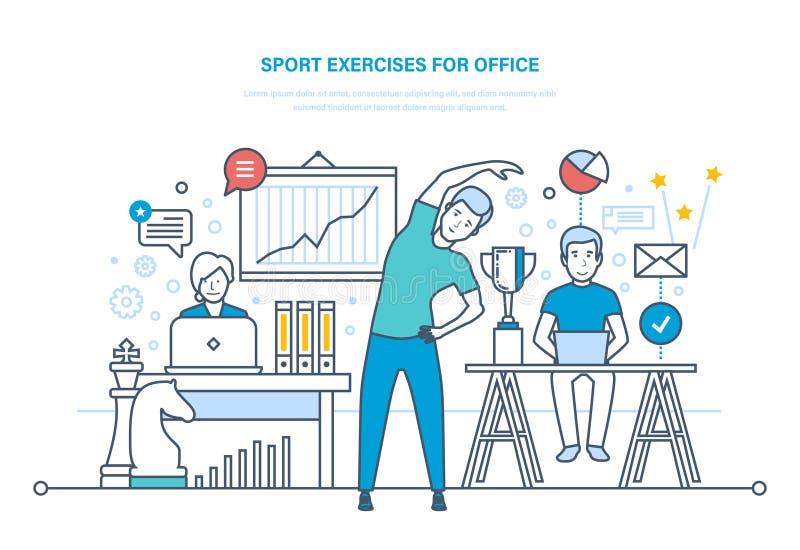 Exercícios do esporte para o escritório Fazendo esportes, treinamento, atleta saudável do estilo de vida ilustração royalty free