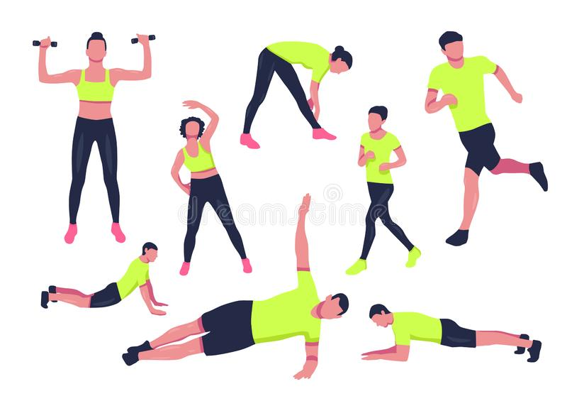 Exercícios do esporte para o escritório grupo da silhueta da aptidão ilustração royalty free