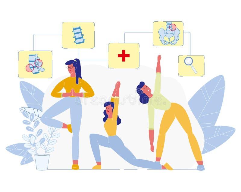 Exercícios físicos para o vetor liso da saúde da espinha ilustração stock