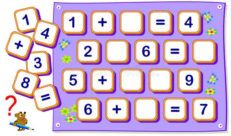 Exercícios matemáticos para crianças na adição Encontre sinais de falta e tire-os em quadrados vazios Jogo do enigma da lógica ilustração do vetor