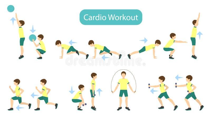 Exercícios para as crianças ajustadas ilustração stock