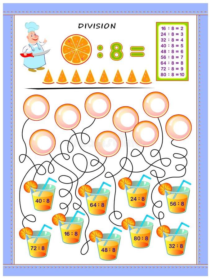 Exercícios para crianças com a tabela da divisão pelo número 8 Resolva exemplos e escreva respostas em bolhas ilustração do vetor