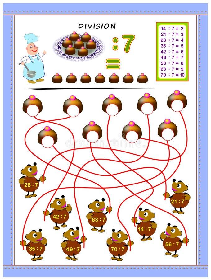 Exercícios para crianças com a tabela da divisão pelo número 7 Resolva exemplos e escreva respostas em doces ilustração do vetor