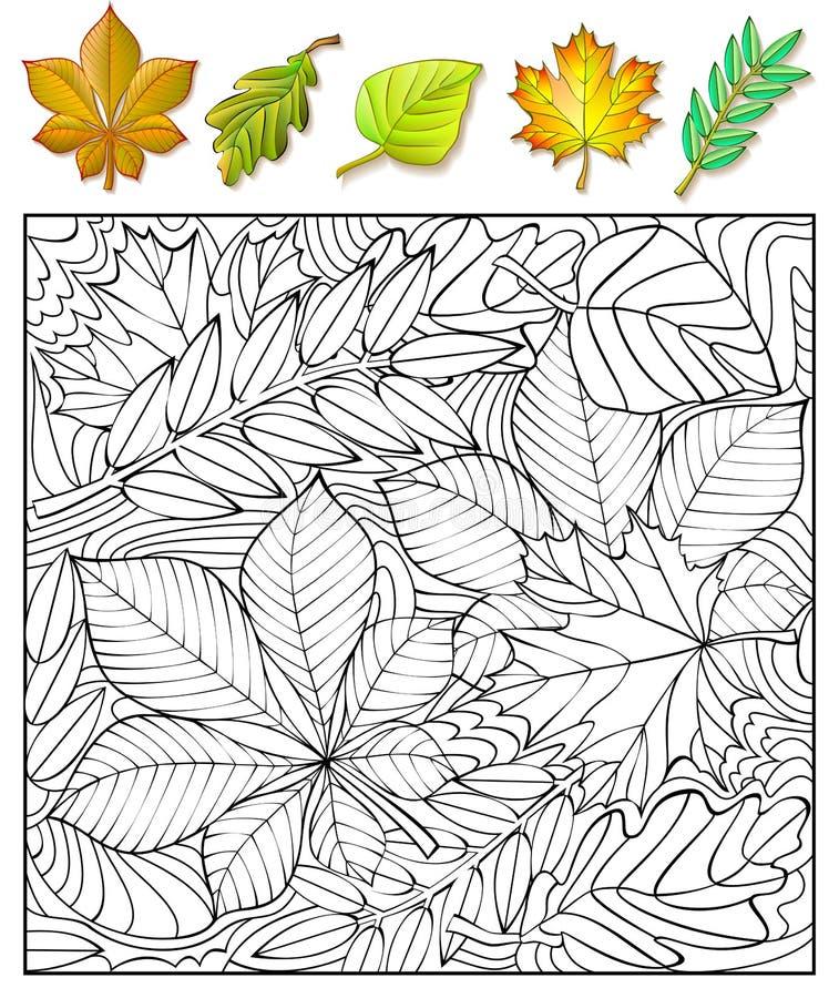 Exercícios para crianças - necessidades de encontrar e pintar as folhas ilustração do vetor