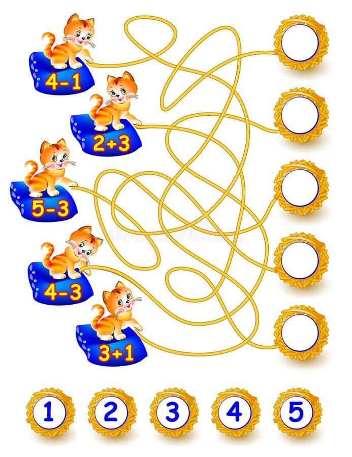 Exercícios para crianças - precise de resolver exemplos e de escrever os números em círculos relevantes ilustração stock