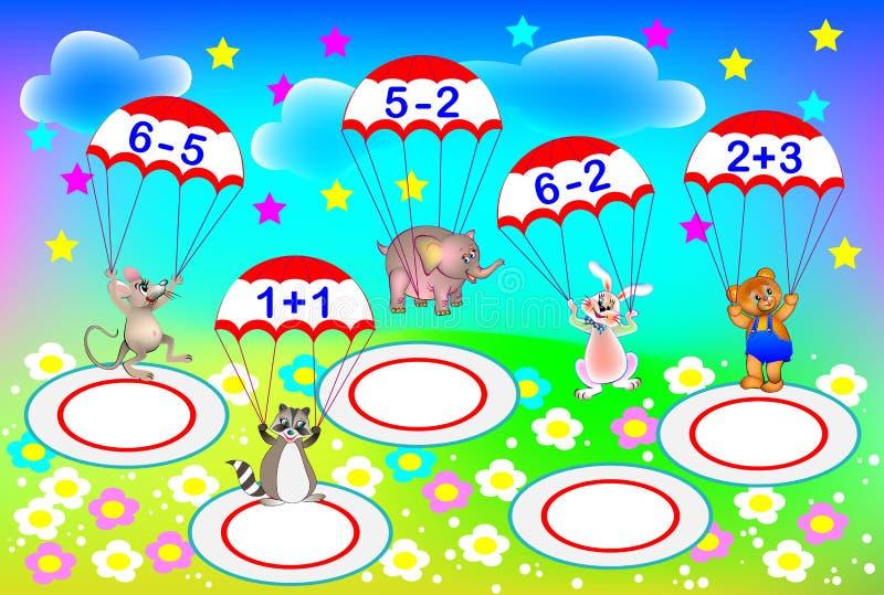 Exercícios para crianças - precise de resolver exemplos e de escrever os números nas áreas onde cada paraquedista tem que aterrar ilustração do vetor