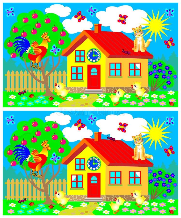Exercícios para jovens crianças - precise de encontrar 7 diferenças ilustração stock
