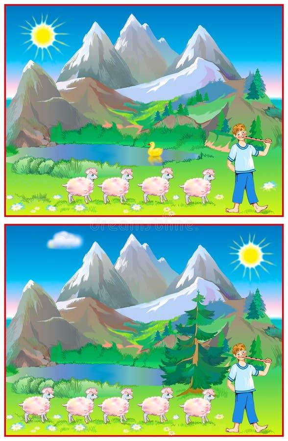 Exercícios para jovens crianças - precise de encontrar 6 diferenças ilustração do vetor