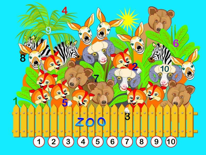 Exerc?cio para jovens crian?as Precise de encontrar os números de 1 até 10 escondidos na imagem entre animais Jogo do enigma da l ilustração do vetor