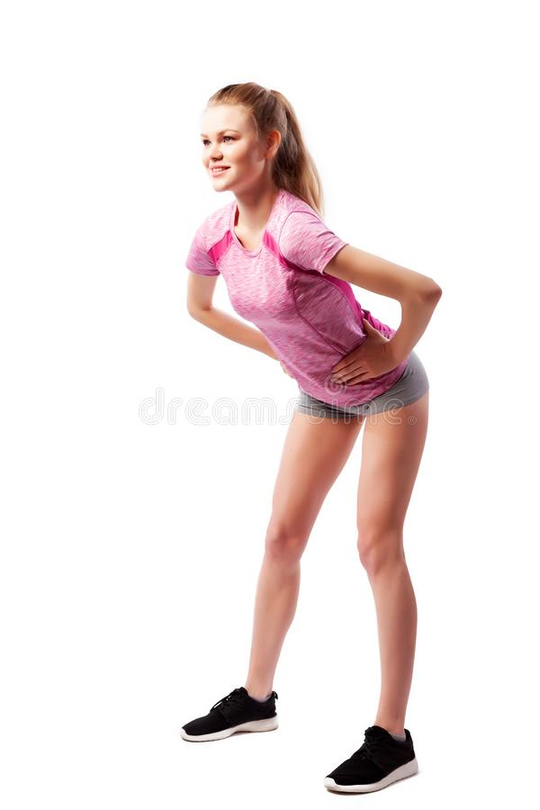 Exerc?cios do esporte em um fundo branco foto de stock royalty free