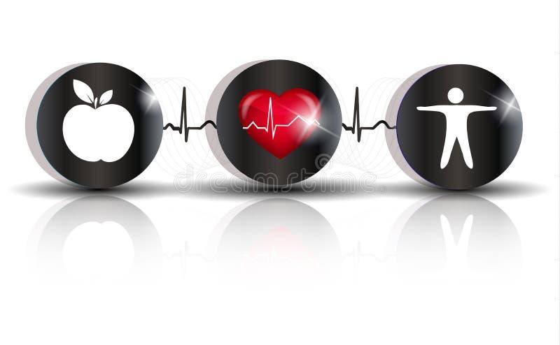 Exercez un symbole d'alimentation saine illustration de vecteur