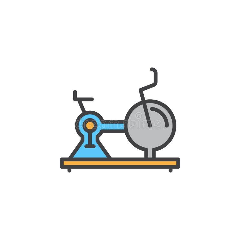 Exercez-vous, ligne stationnaire icône, signe rempli de vecteur d'ensemble, pictogramme coloré linéaire de vélo d'isolement sur l illustration stock