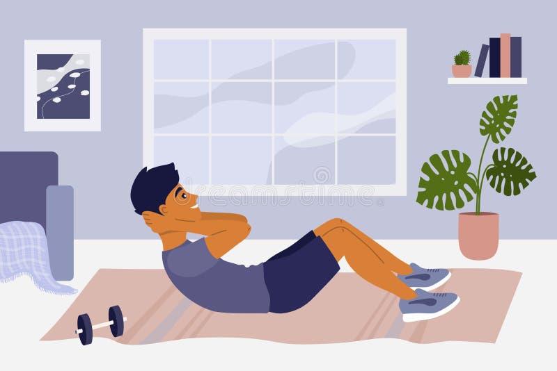 Exercice d'écrasement abdominal, activité physique, maintien à la maison concept photos stock