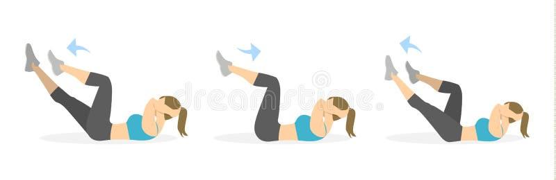 Exercice d'ABS pour des femmes illustration stock