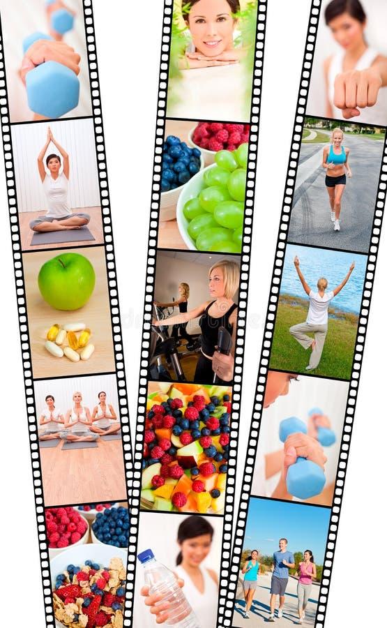 Exercice d'alimentation saine d'hommes et de femmes de montage de bande de film images libres de droits