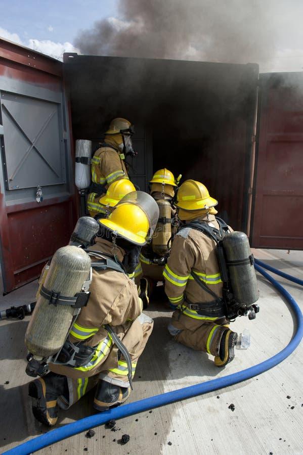 Exercice d'entraînement d'incendie photo libre de droits