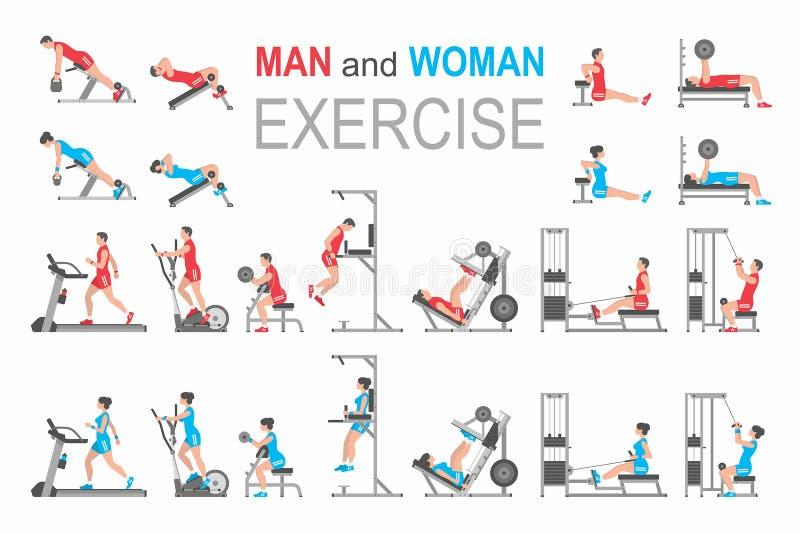 Exercice d'homme et de femme illustration de vecteur